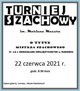 Plakat o turnieju szachowym