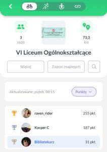 Skrin z aplikacji w telefonie z widoczną grupą VI LO.